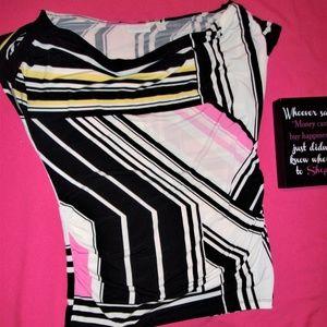 Medium womans pattern tunic dress shirt top black